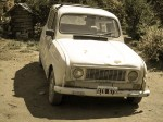 A Renault 4, slightly lopsided.