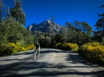Thomas shows off a very nice bicycle, a quiet road and some superb cycling scenery