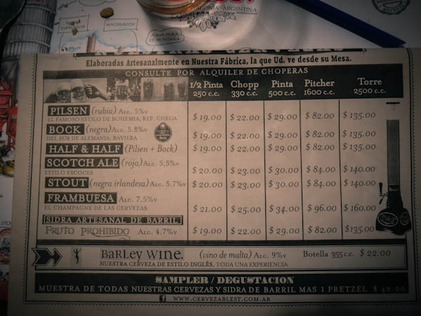 The Beer Menu at Blest Brewery