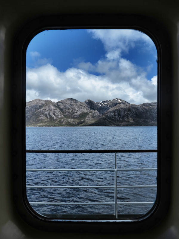 View from my cabin window on the Navimag Ferry