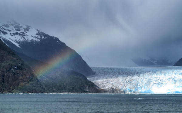 Rainbow over a Glacier. No kidding.