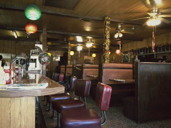 Authentic American diner interior.