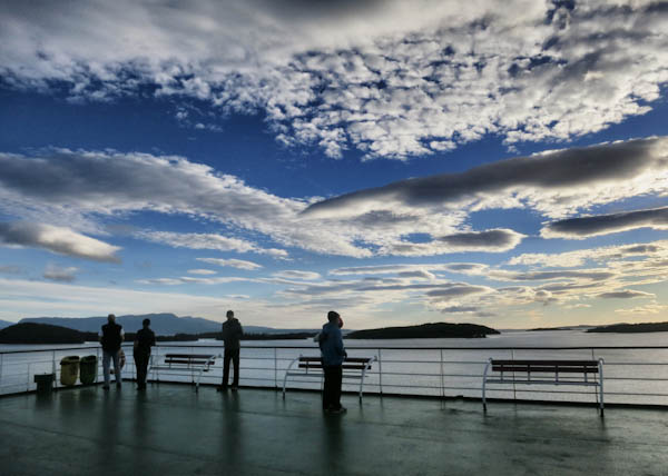 Early morning on deck on the Navimag Ferry