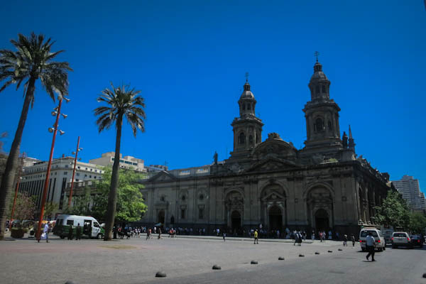 The Plaza des Armas, the historical heart of Santiago de Chile.